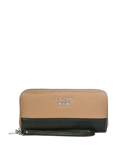 Guess Edmore Zip-Around Wallet-BLACK/TAN-One Size