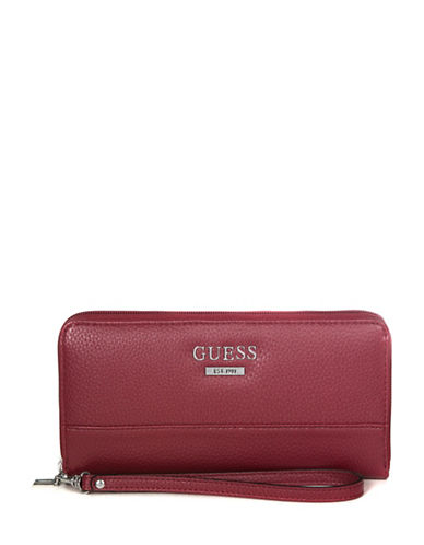 Guess Edmore Zip-Around Wallet-RED-One Size