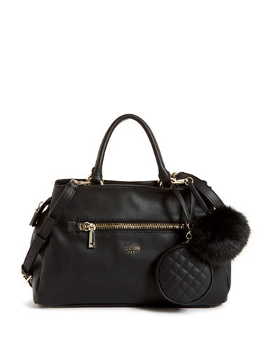 Guess Tenley Girlfriend Satchel-BLACK-One Size