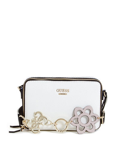 Guess Dania Top Zip Mini Crossbody Bag-WHITE-One Size