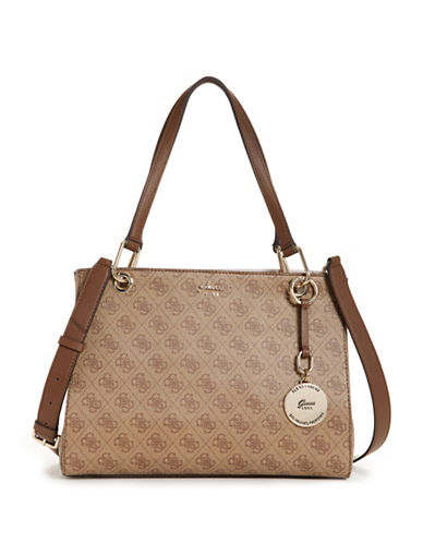 Guess Jacqui Monogram Satchel-BROWN-One Size