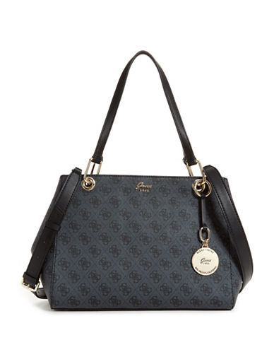 Guess Jacqui Monogram Satchel-COAL-One Size