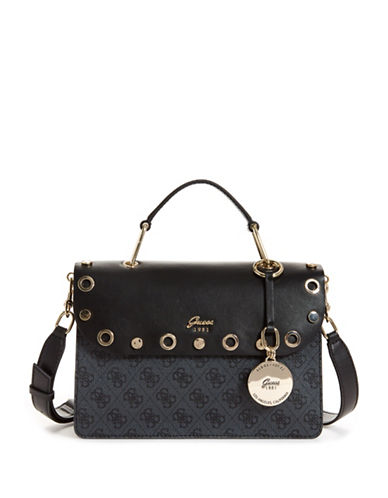 Guess Grommet Flap Top Handle Bag-COAL-One Size