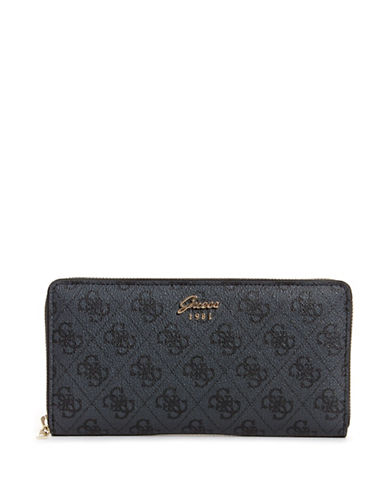 Guess Monogram Cheque Organizer-COAL-One Size