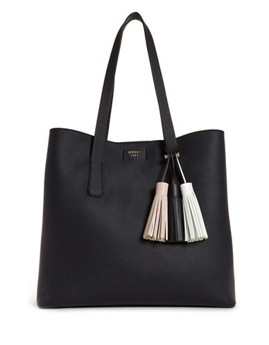 Guess Multicoloured Tassel Tote Bag-BLACK-One Size