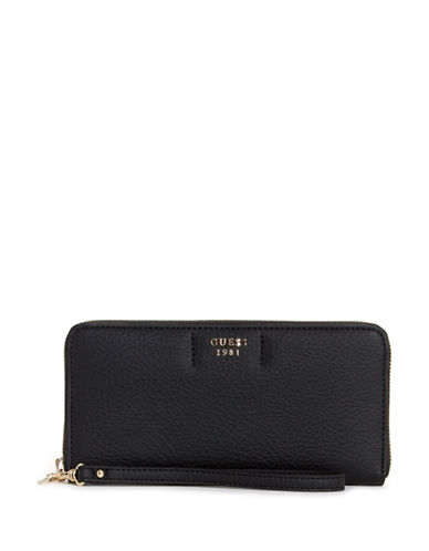 Guess Trudy Slim Zip-Around Wallet-BLACK-One Size