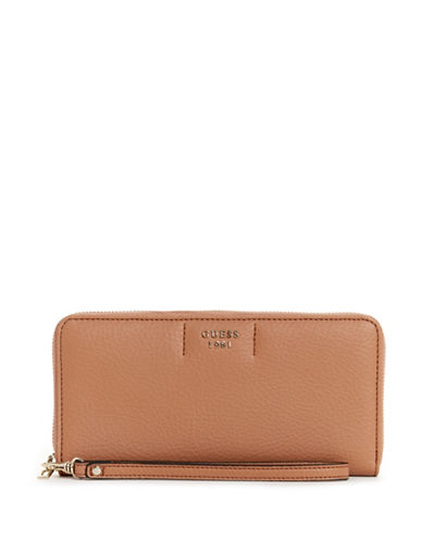Guess Trudy Slim Zip-Around Wallet-TAN-One Size
