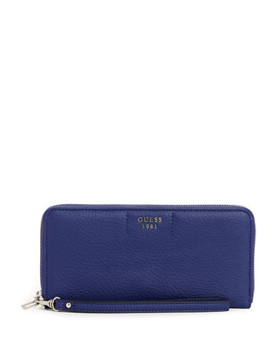 Guess Trudy Slim Zip-Around Wallet-BLUE-One Size