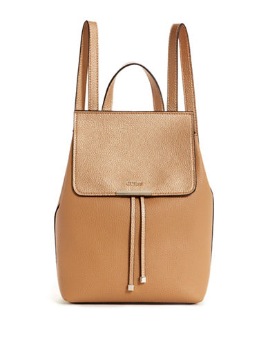 Guess Varsity Pop Fold-Over Backpack-TAN/GOLD-One Size