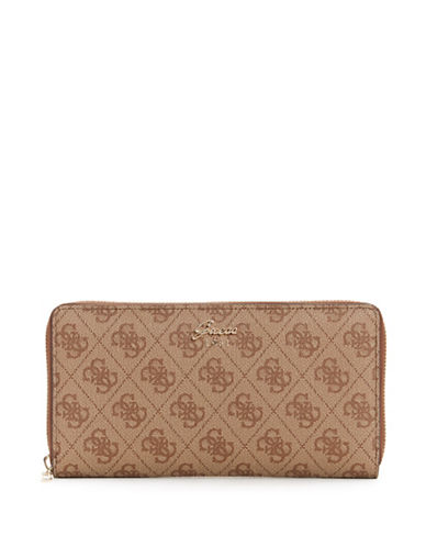 Guess Monogram Cheque Organizer-BROWN-One Size