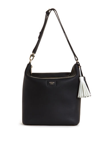 Guess Logo Textured Hobo bag-BLACK-One Size