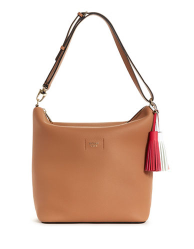 Guess Logo Textured Hobo bag-TAN-One Size