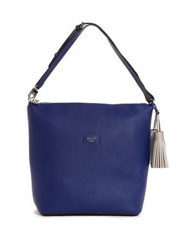 Guess Logo Textured Hobo bag-BLUE-One Size