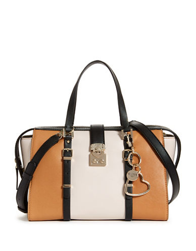 Guess Joslyn Monogram Satchel-BROWN/BEIGE-One Size