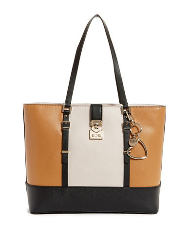 Guess Joslyn Colourblock Tote-BLACK/BROWN-One Size