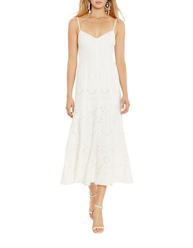 Polo Ralph Lauren Eyelet Boho Maxi Dress-WHITE-2
