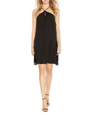 Polo Ralph Lauren Silk Crisscross Back Halterneck Dress-BLACK-2
