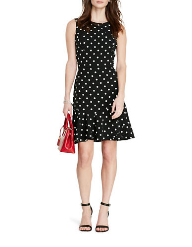 Lauren Ralph Lauren Polka-Dot Crepe Dress-BLACK-10