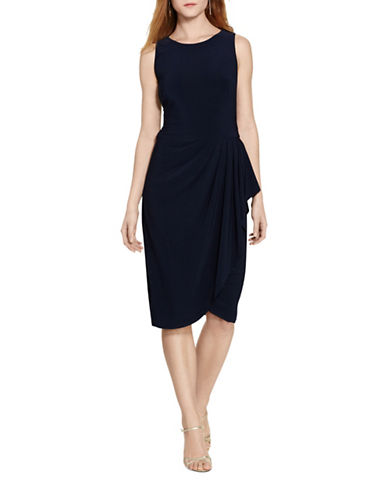 Lauren Ralph Lauren Draped Jersey Dress-NAVY-8 89038788_NAVY_8