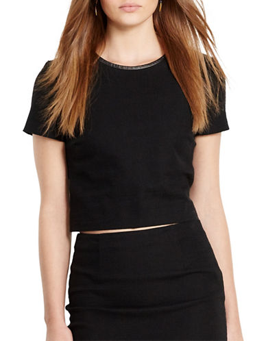 Polo Ralph Lauren Leather-Trim Tweed Crop Top-BLACK-4 88431616_BLACK_4