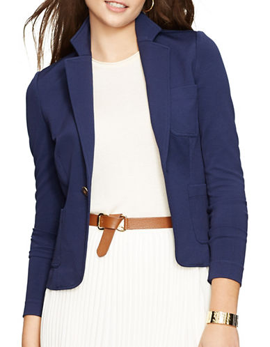 Lauren Ralph Lauren Stretch Pique Jacket-BLUE-Medium 88252054_BLUE_Medium