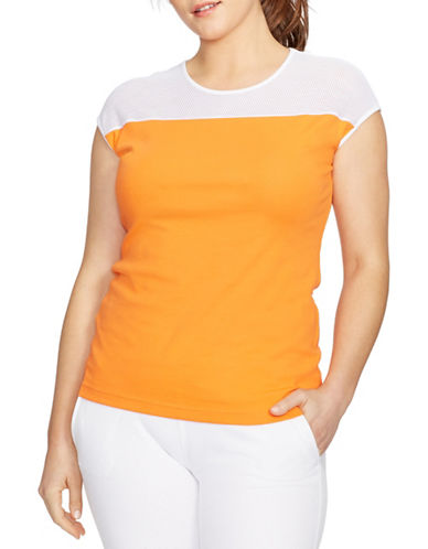 Lauren Ralph Lauren Plus Colourblocked Active Shirt-ORANGE-1X 88247318_ORANGE_1X