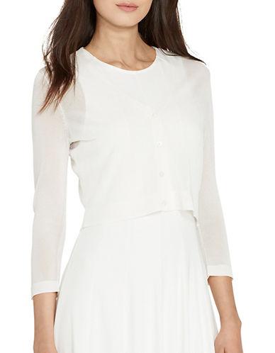 Lauren Ralph Lauren Cropped V-Neck Cardigan-WHITE-Medium 89104267_WHITE_Medium