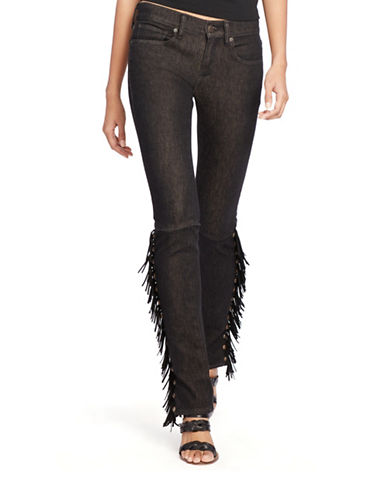Polo Ralph Lauren Tompkins Fringed Skinny Jeans-BLACK-25