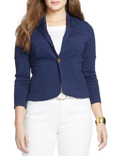 Lauren Ralph Lauren Plus Stretch Pique Jacket-BLUE-1X 88247333_BLUE_1X