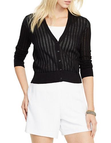 Lauren Ralph Lauren Pointelle-Knit Cotton Cardigan-BLACK-Large 88425274_BLACK_Large