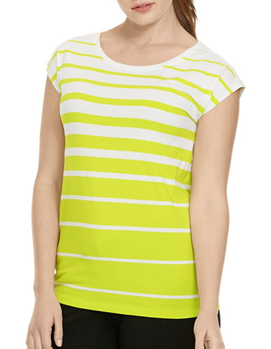 Lauren Ralph Lauren Plus Striped Jersey Top-YELLOW-2X 88391058_YELLOW_2X