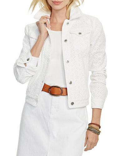 Lauren Ralph Lauren Eyelet Denim Jacket-WHITE-Medium 88365893_WHITE_Medium