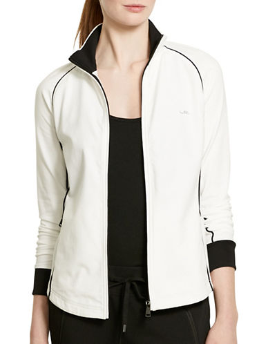 Lauren Ralph Lauren Plus Stretch-Cotton Contrast Mock Neck Jacket-WHITE-2X 88445321_WHITE_2X