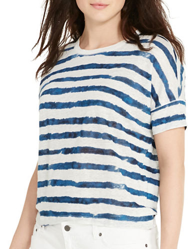 Lauren Ralph Lauren Plus Striped Linen T-Shirt-NATURAL MULTI-3X