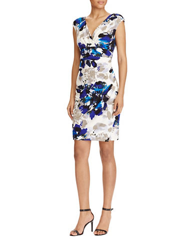Lauren Ralph Lauren Floral Jersey Sheath Dress-BLUE MULTI-10