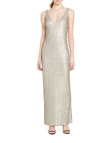 Lauren Ralph Lauren Sequined V-Neck Column Gown-SILVER-10