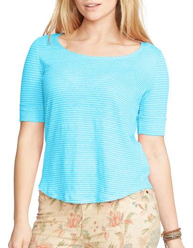 Lauren Ralph Lauren Plus Linen Jersey Tee-BLUE-3X 88451297_BLUE_3X