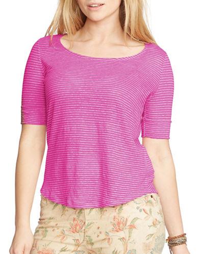 Lauren Ralph Lauren Plus Linen Jersey Tee-PURPLE-1X 88451298_PURPLE_1X