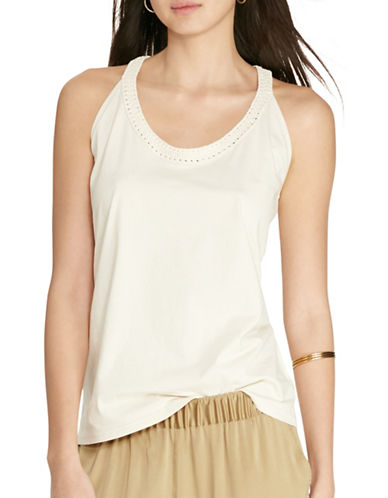 Lauren Ralph Lauren Macramé Cotton Tank-NATURAL-X-Large 88479724_NATURAL_X-Large