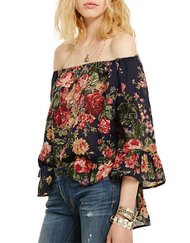 Denim & Supply Ralph Lauren Floral-Print Gauze Top-BLUE-X-Large plus size,  plus size fashion plus size appare
