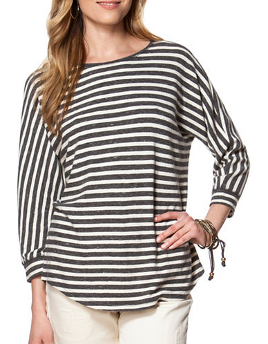 Chaps Striped Jersey Top-GREY-X-Large 88622592_GREY_X-Large