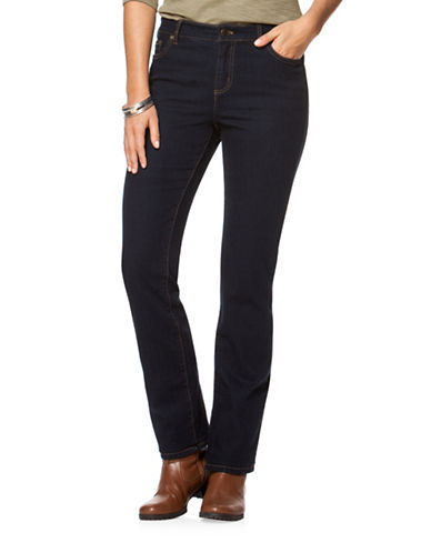 Chaps Petite Dark-Wash Stretch Straight Jeans-BLUE-Petite 16