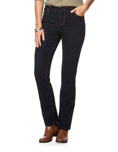 Chaps Petite Dark-Wash Stretch Straight Jeans-BLUE-Petite 8
