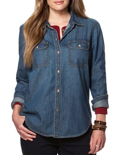 Chaps Plus Denim Button-Front Workshirt-BLUE-2X plus size,  plus size fashion plus size appare