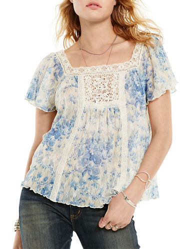 Denim & Supply Ralph Lauren Vintage Bib Boho Top-BLUE-X-Large plus size,  plus size fashion plus size appare