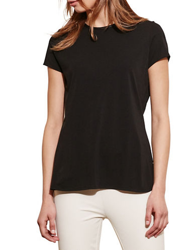 Lauren Ralph Lauren Faux Leather-Trim Jersey Tee-BLACK-Small 88571162_BLACK_Small