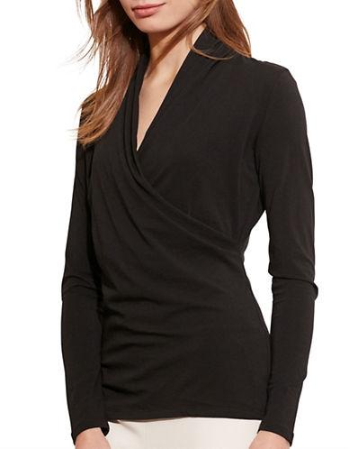 Lauren Ralph Lauren Faux-Wrap Jersey Top-BLACK-Small 88660990_BLACK_Small