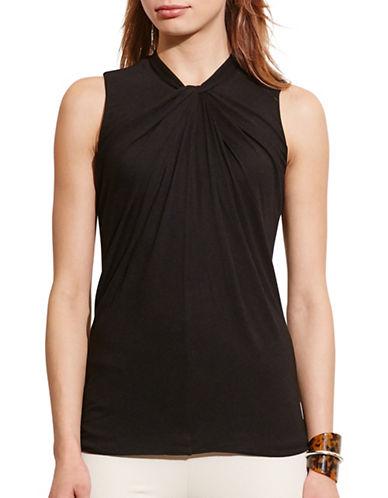 Lauren Ralph Lauren Twist-Neck Jersey Top-BLACK-Medium 88571248_BLACK_Medium