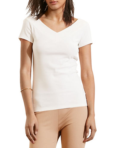 Lauren Ralph Lauren Stretch Cotton V-Neck Tee-WHITE-X-Large 88571260_WHITE_X-Large