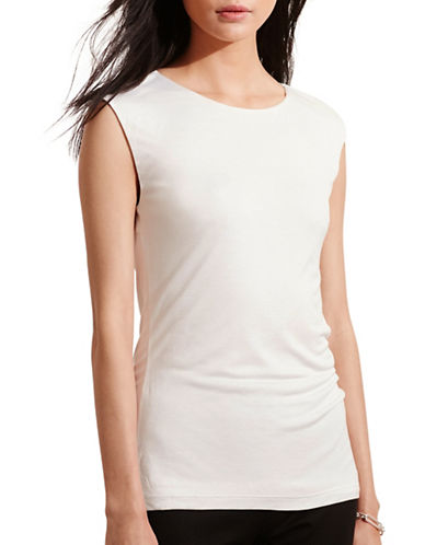 Lauren Ralph Lauren Cut-Out Back Jersey Tee-WHITE-X-Large 88571338_WHITE_X-Large